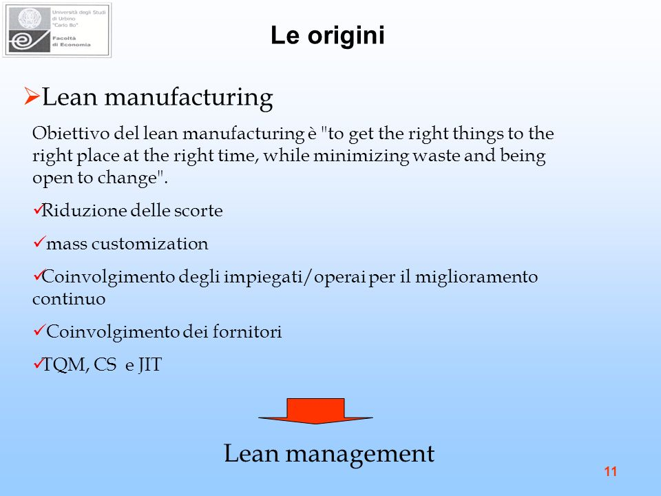 Le origini Lean manufacturing Lean management