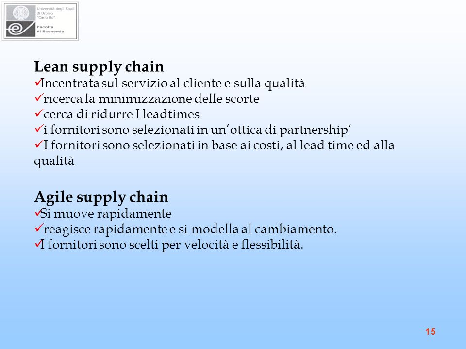 Lean supply chain Agile supply chain
