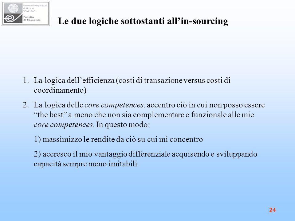 Le due logiche sottostanti all'in-sourcing