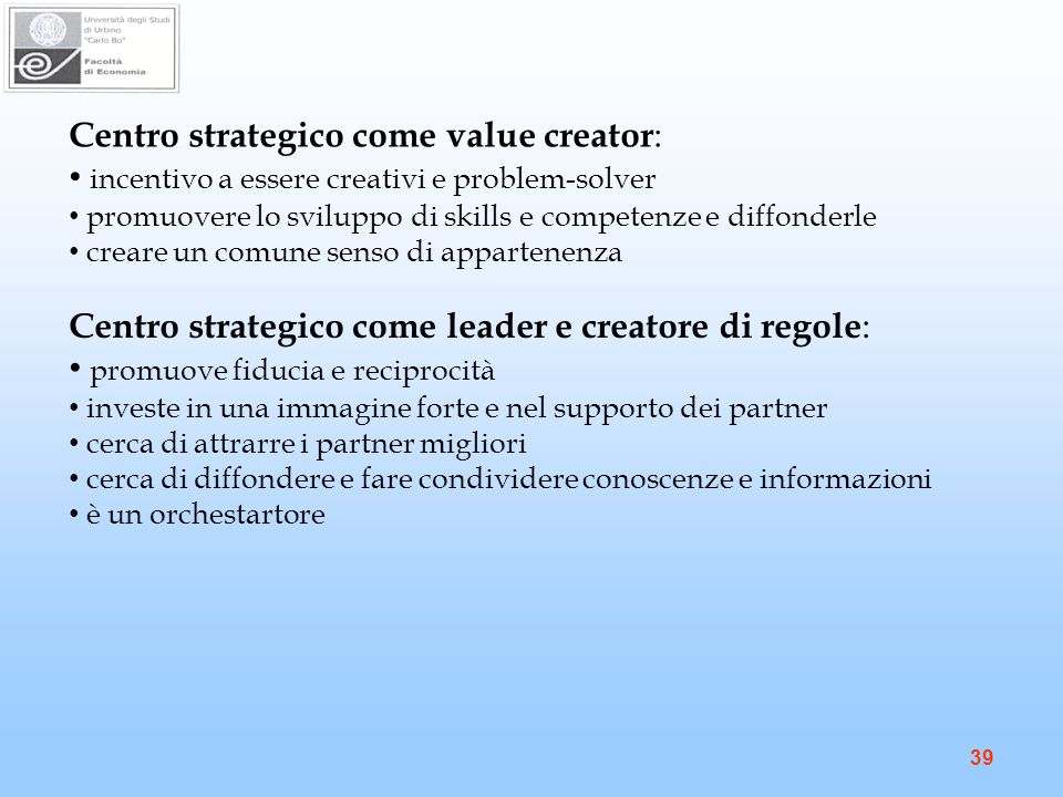 Centro strategico come value creator: