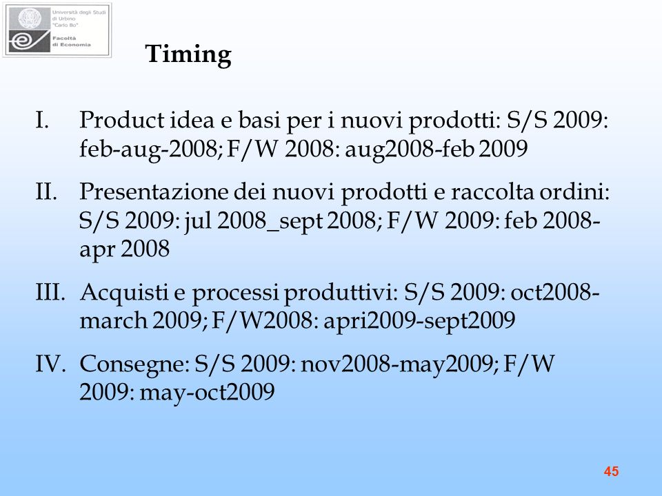 Timing Product idea e basi per i nuovi prodotti: S/S 2009: feb-aug-2008; F/W 2008: aug2008-feb 2009.