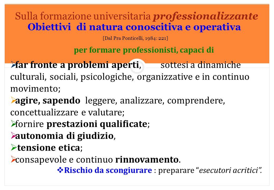 Sulla formazione universitaria professionalizzante