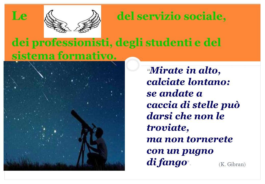 Le del servizio sociale, dei professionisti, degli studenti e del sistema formativo.