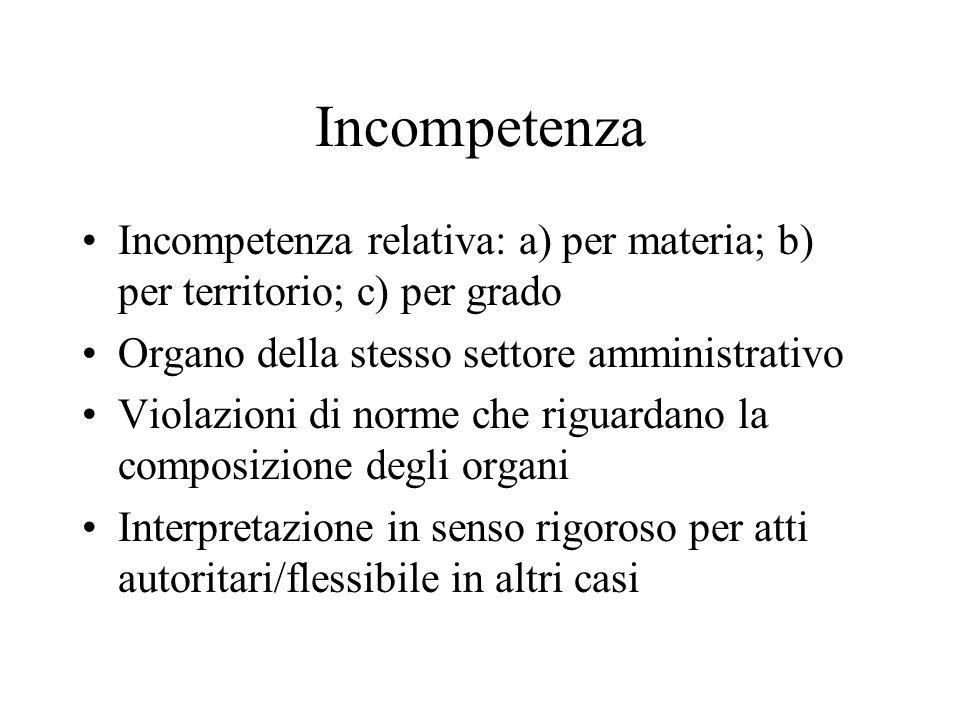 Incompetenza Incompetenza relativa: a) per materia; b) per territorio; c) per grado. Organo della stesso settore amministrativo.