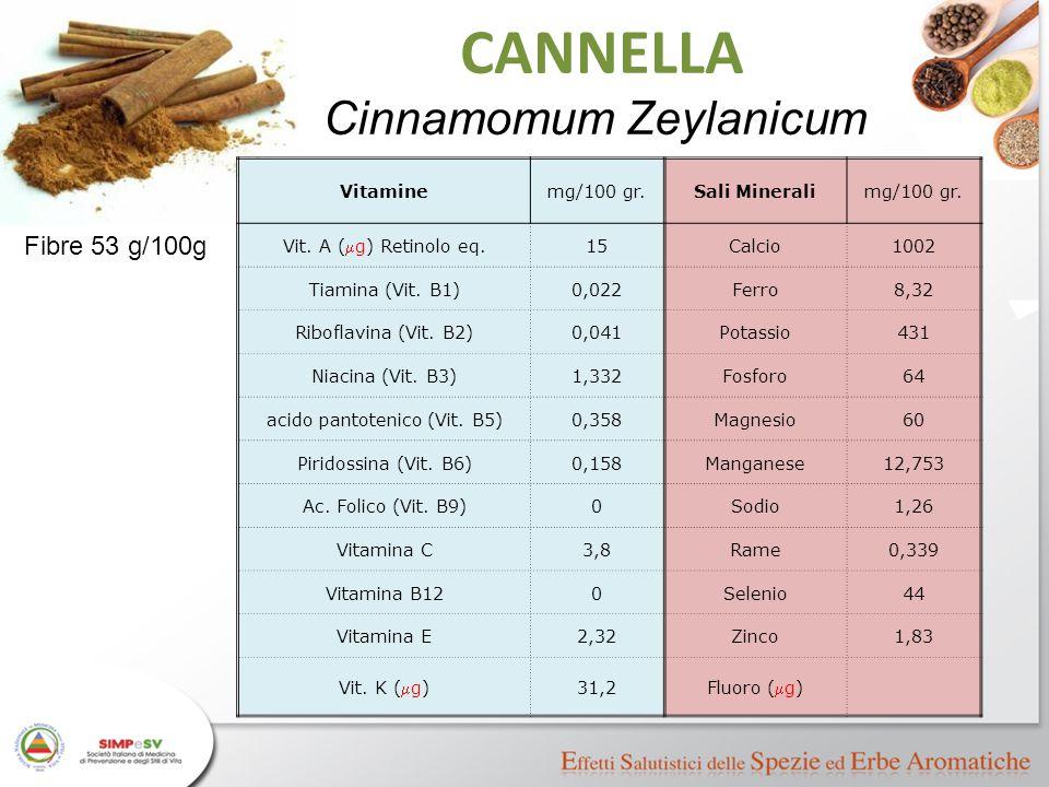 CANNELLA Cinnamomum Zeylanicum Fibre 53 g/100g Vitamine mg/100 gr.