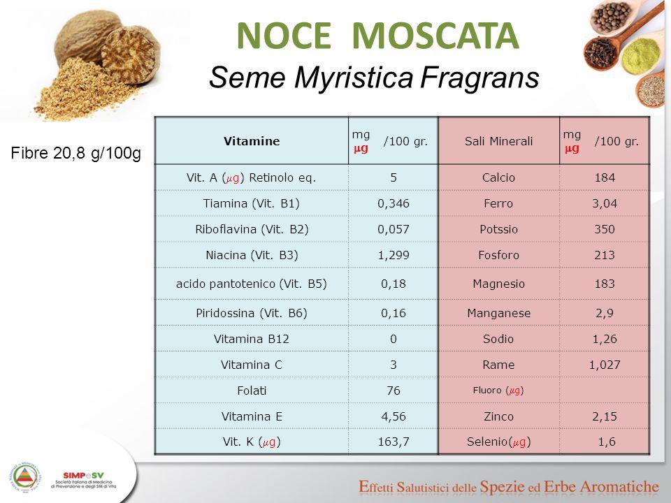 NOCE MOSCATA Seme Myristica Fragrans Fibre 20,8 g/100g Vitamine mg mg