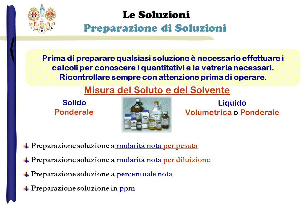 Le Soluzioni Preparazione di Soluzioni