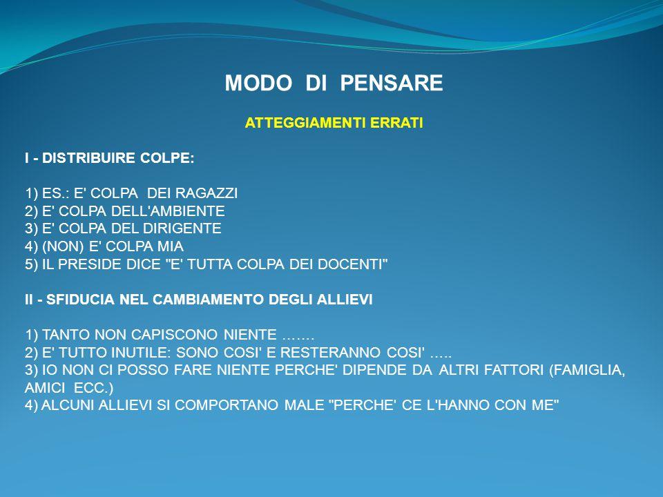 MODO DI PENSARE ATTEGGIAMENTI ERRATI I - DISTRIBUIRE COLPE: