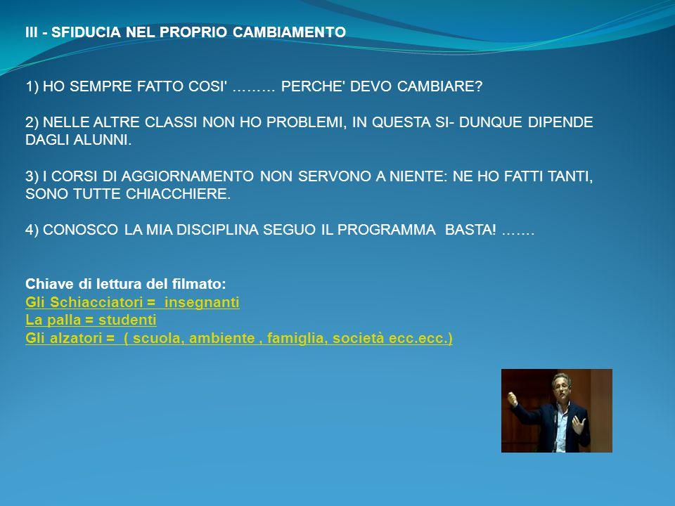 III - SFIDUCIA NEL PROPRIO CAMBIAMENTO