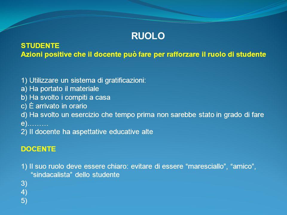 RUOLO STUDENTE. Azioni positive che il docente può fare per rafforzare il ruolo di studente. 1) Utilizzare un sistema di gratificazioni: