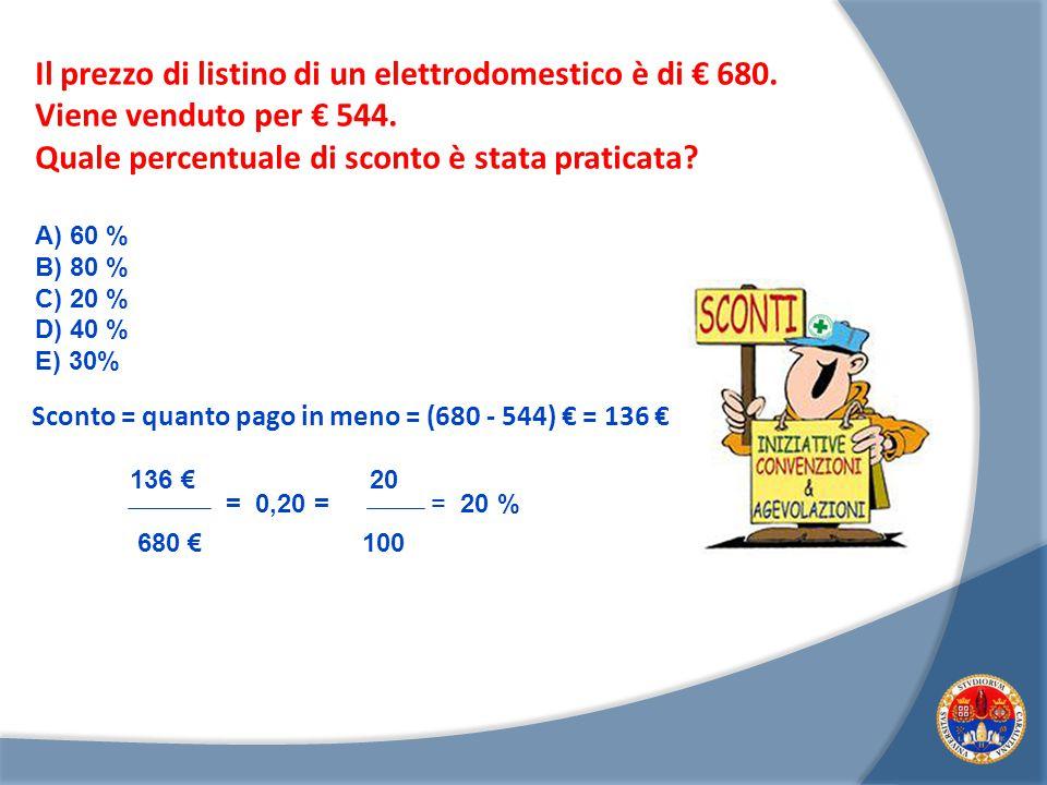 Il prezzo di listino di un elettrodomestico è di € 680.
