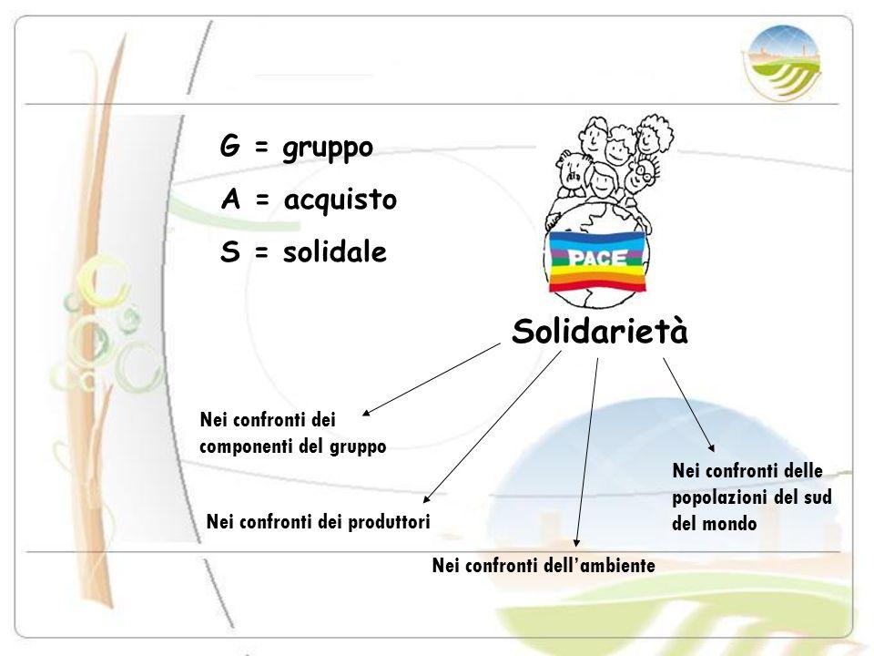 Solidarietà G = gruppo A = acquisto S = solidale Nei confronti dei