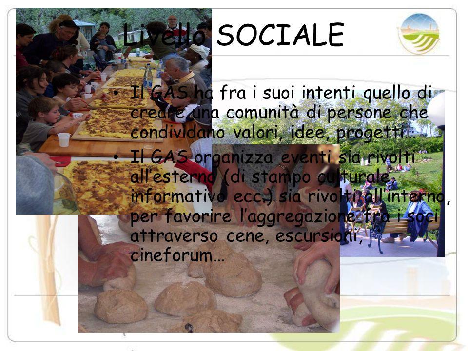 Livello SOCIALE Il GAS ha fra i suoi intenti quello di creare una comunità di persone che condividano valori, idee, progetti…