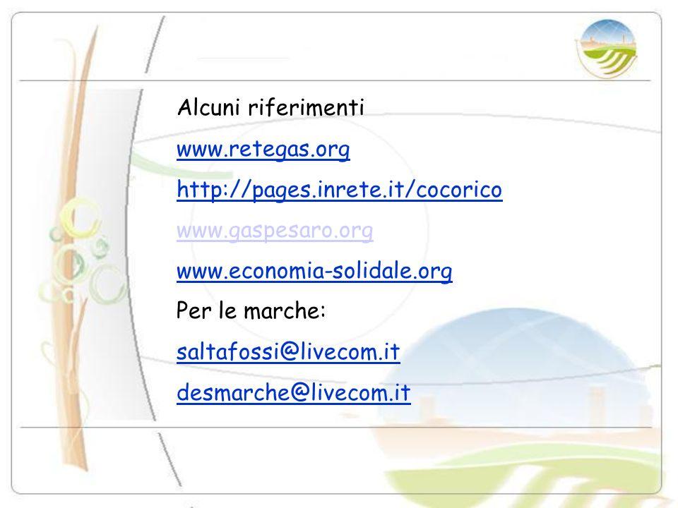 Alcuni riferimenti www.retegas.org. http://pages.inrete.it/cocorico. www.gaspesaro.org. www.economia-solidale.org.