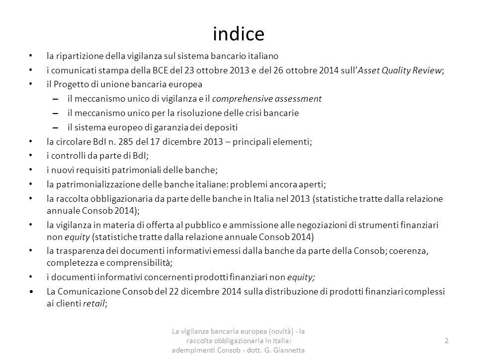 indice la ripartizione della vigilanza sul sistema bancario italiano