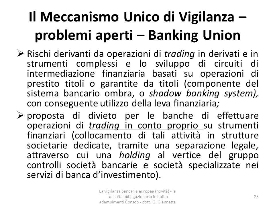Il Meccanismo Unico di Vigilanza – problemi aperti – Banking Union