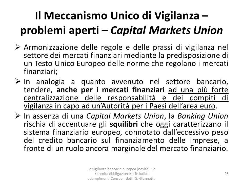 Il Meccanismo Unico di Vigilanza – problemi aperti – Capital Markets Union