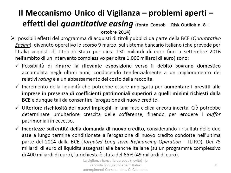 Il Meccanismo Unico di Vigilanza – problemi aperti – effetti del quantitative easing (fonte Consob – Risk Outllok n. 8 – ottobre 2014)