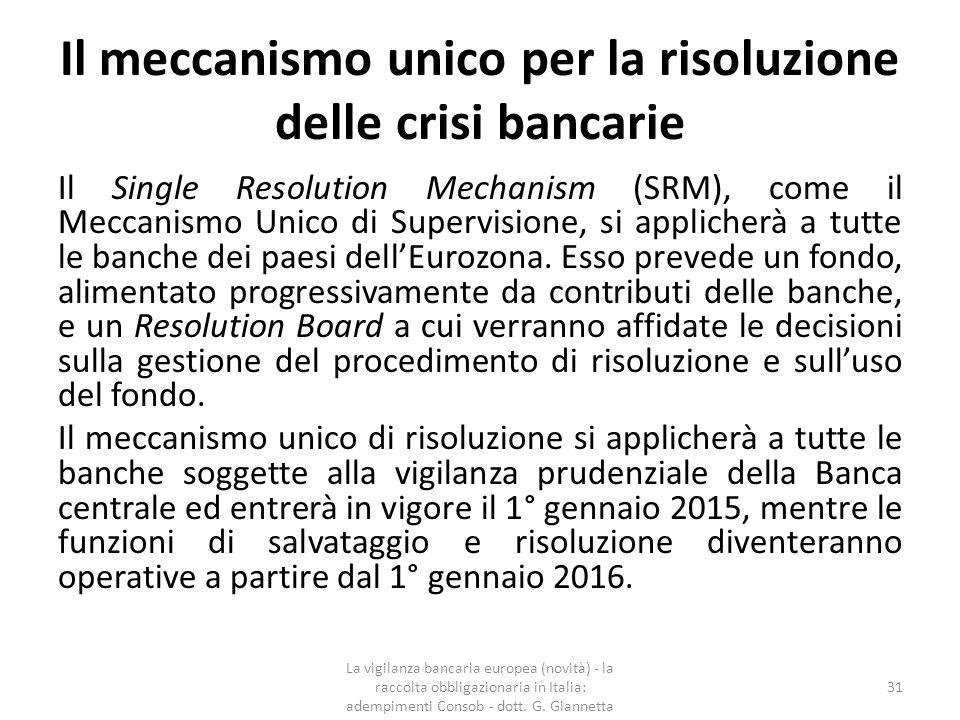 Il meccanismo unico per la risoluzione delle crisi bancarie