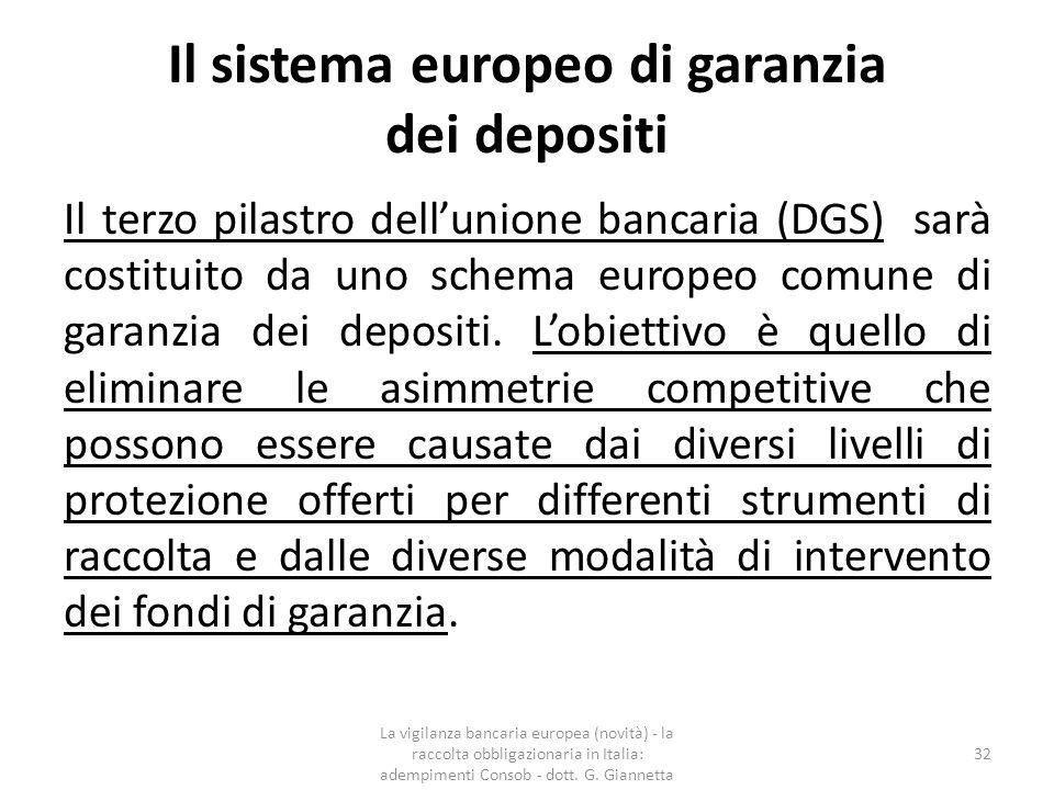 Il sistema europeo di garanzia dei depositi