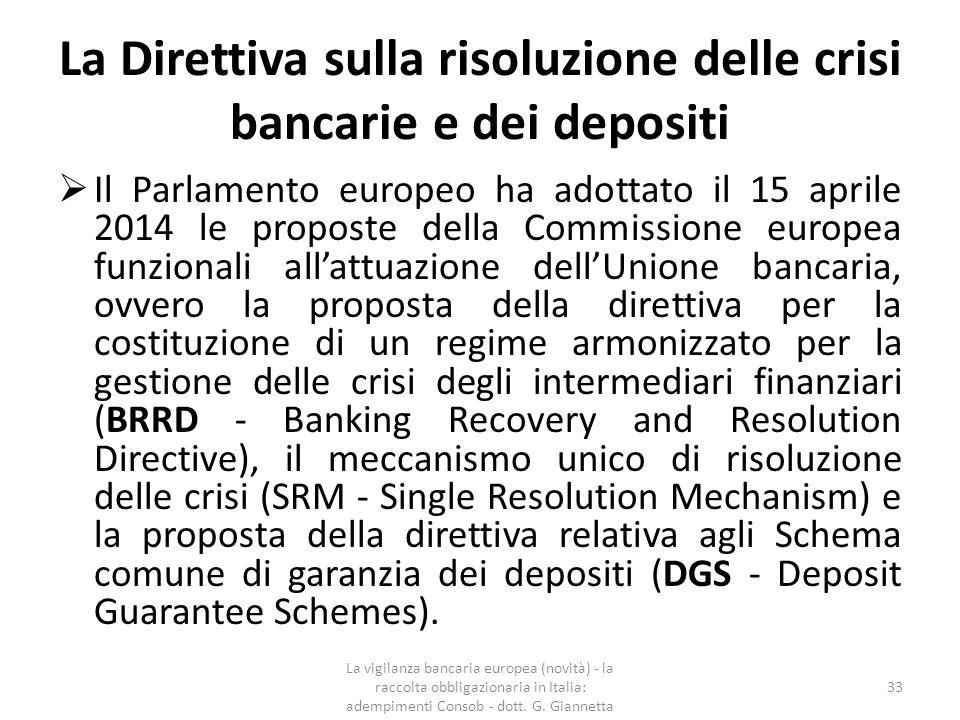 La Direttiva sulla risoluzione delle crisi bancarie e dei depositi