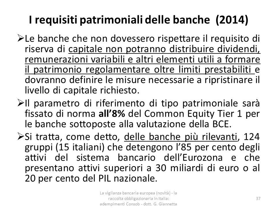 I requisiti patrimoniali delle banche (2014)