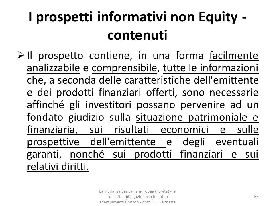 I prospetti informativi non Equity - contenuti