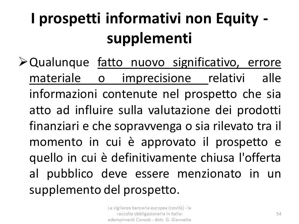 I prospetti informativi non Equity - supplementi