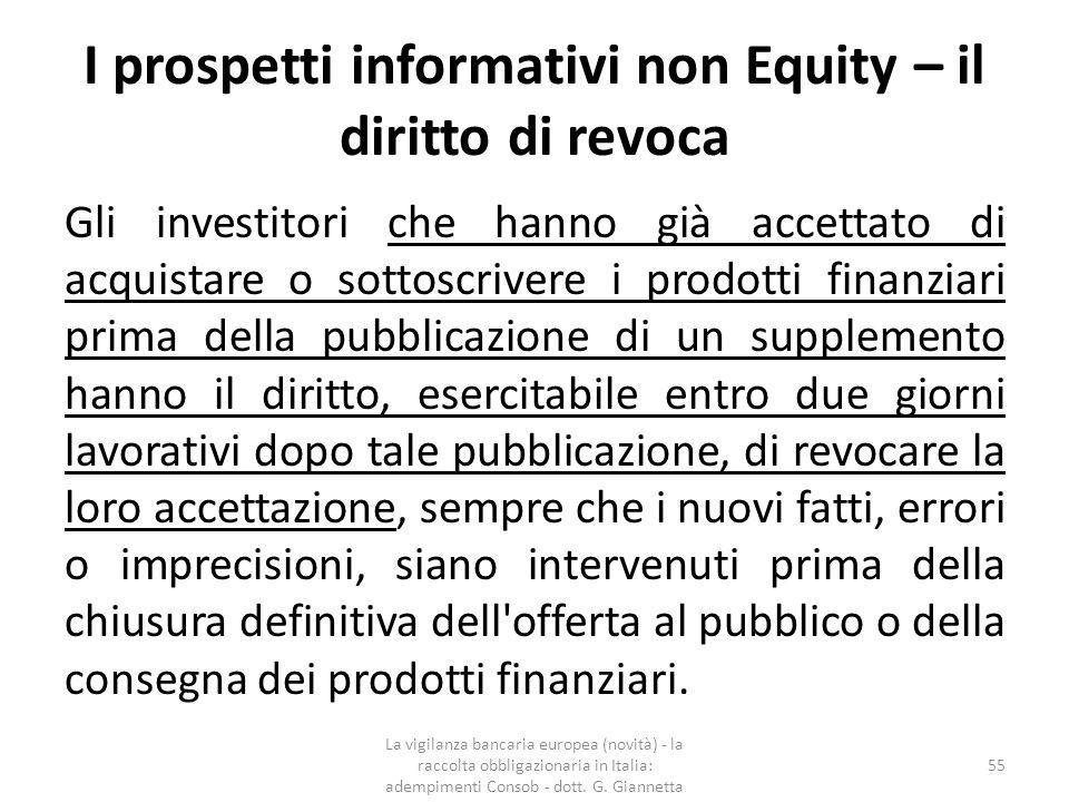 I prospetti informativi non Equity – il diritto di revoca