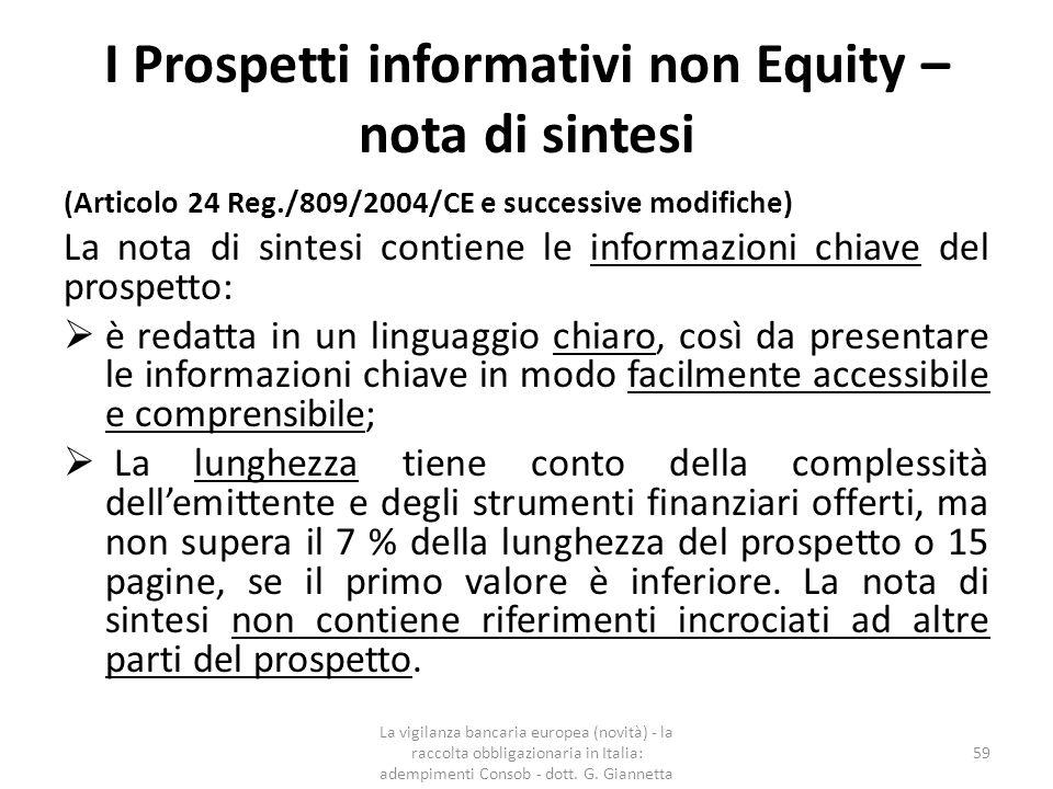 I Prospetti informativi non Equity – nota di sintesi