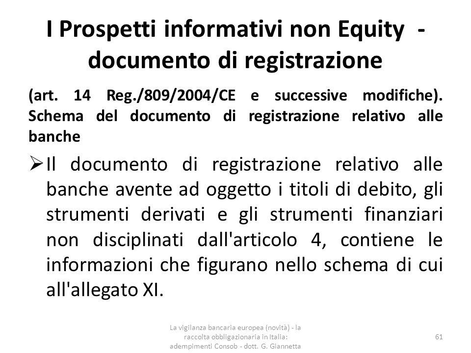 I Prospetti informativi non Equity - documento di registrazione