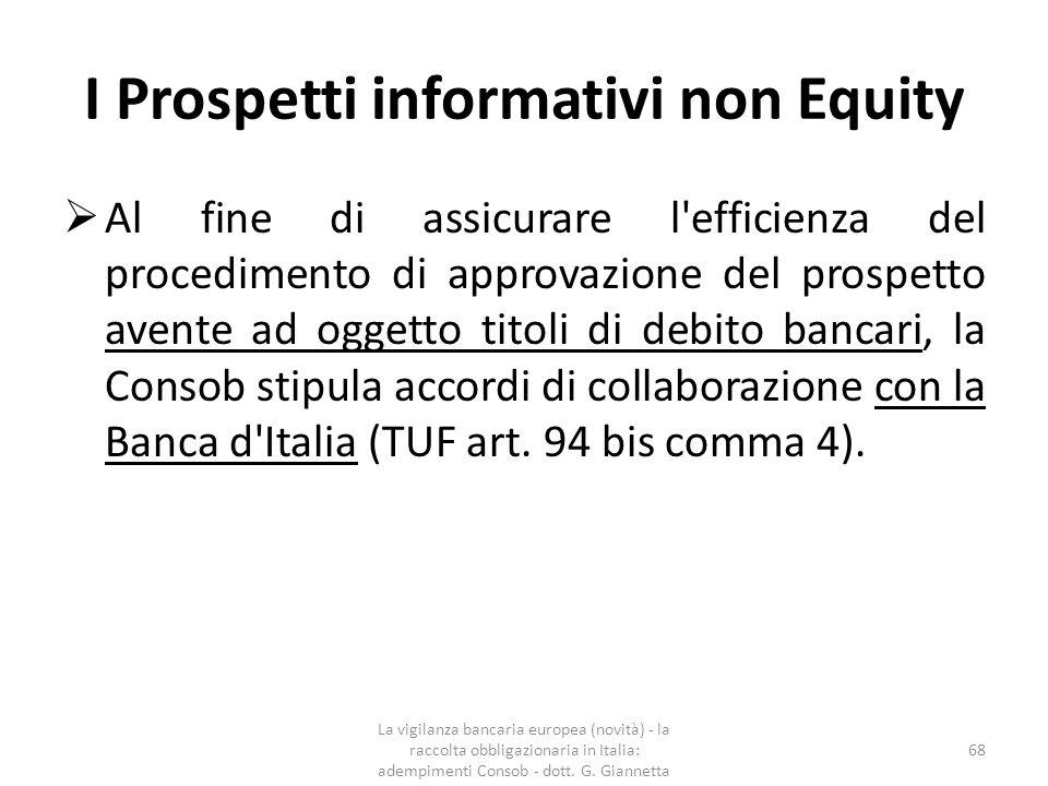 I Prospetti informativi non Equity