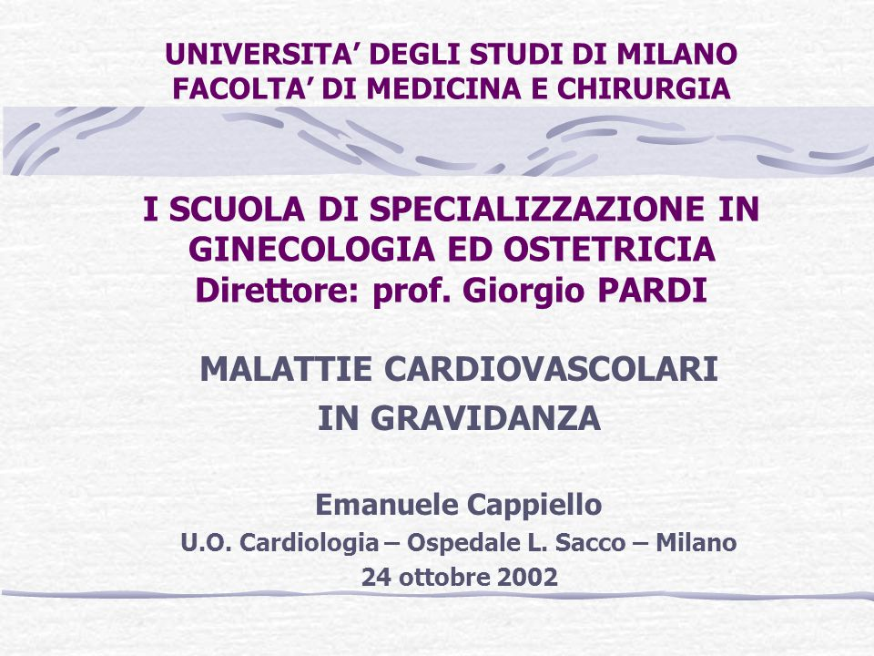 MALATTIE CARDIOVASCOLARI U.O. Cardiologia – Ospedale L. Sacco – Milano
