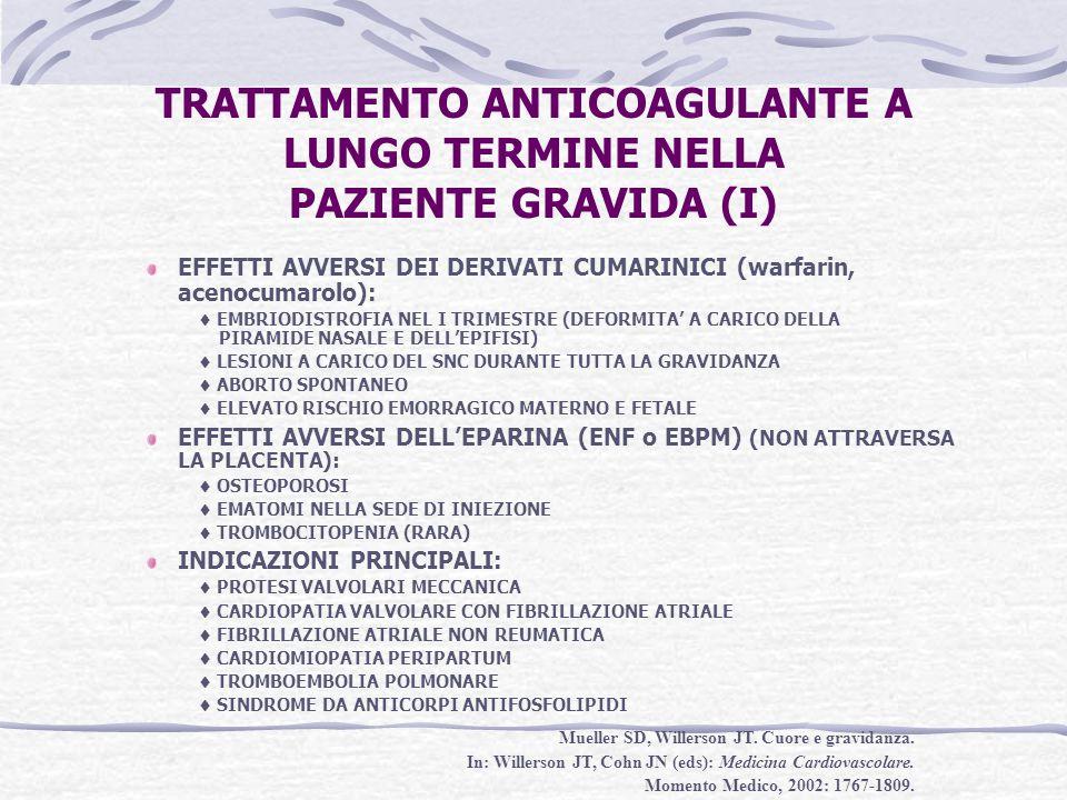TRATTAMENTO ANTICOAGULANTE A LUNGO TERMINE NELLA PAZIENTE GRAVIDA (I)
