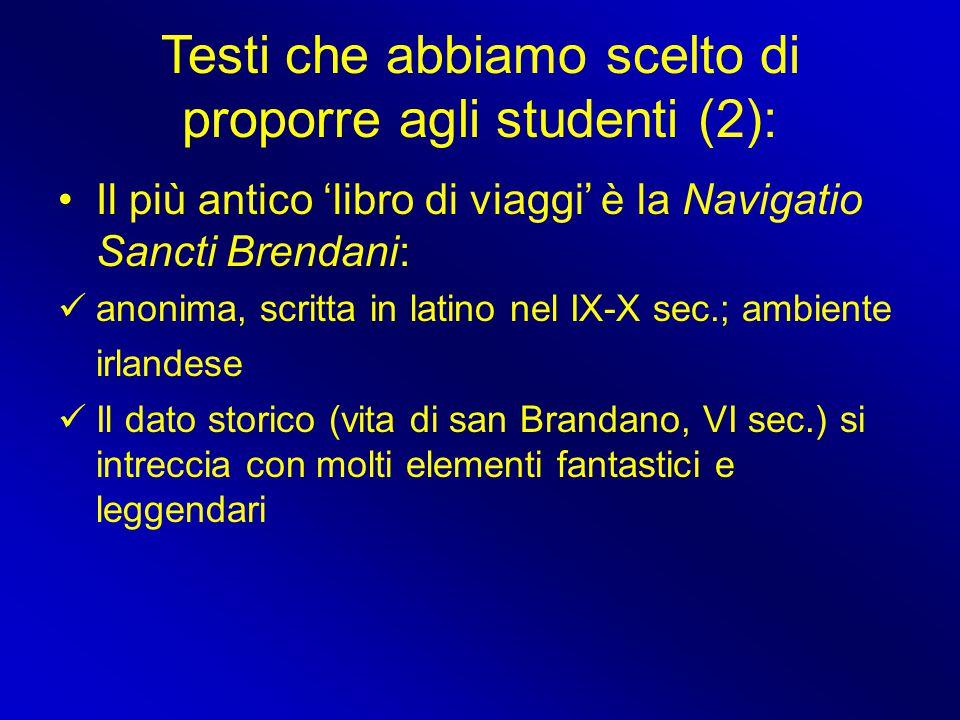 Testi che abbiamo scelto di proporre agli studenti (2):