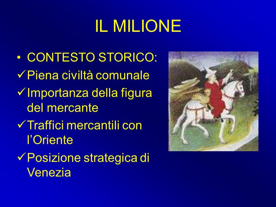 IL MILIONE CONTESTO STORICO: Piena civiltà comunale