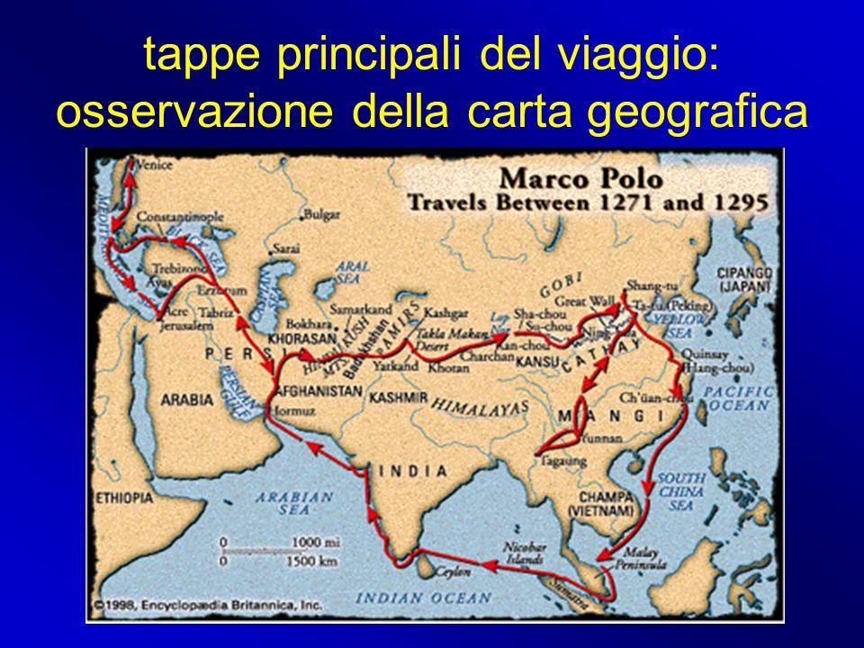 tappe principali del viaggio: osservazione della carta geografica