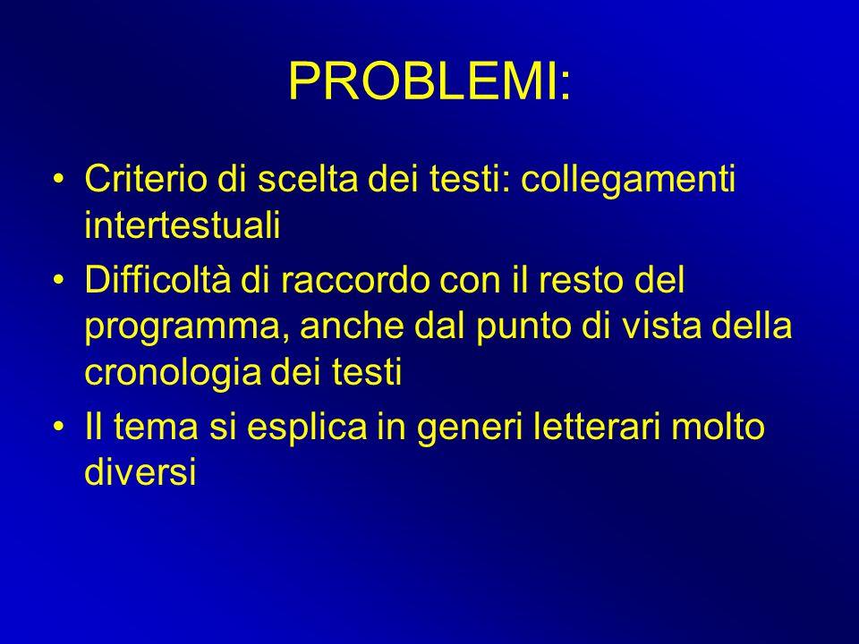 PROBLEMI: Criterio di scelta dei testi: collegamenti intertestuali