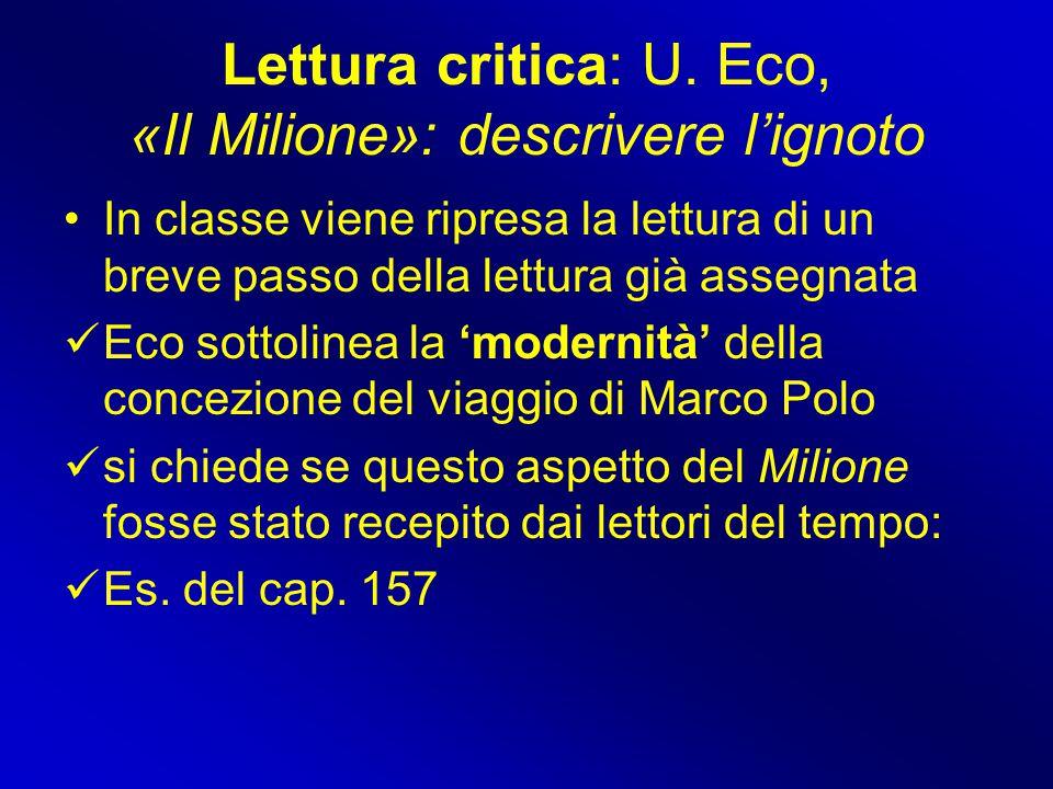 Lettura critica: U. Eco, «Il Milione»: descrivere l'ignoto