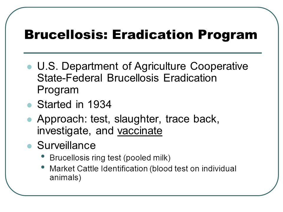 Brucellosis: Eradication Program