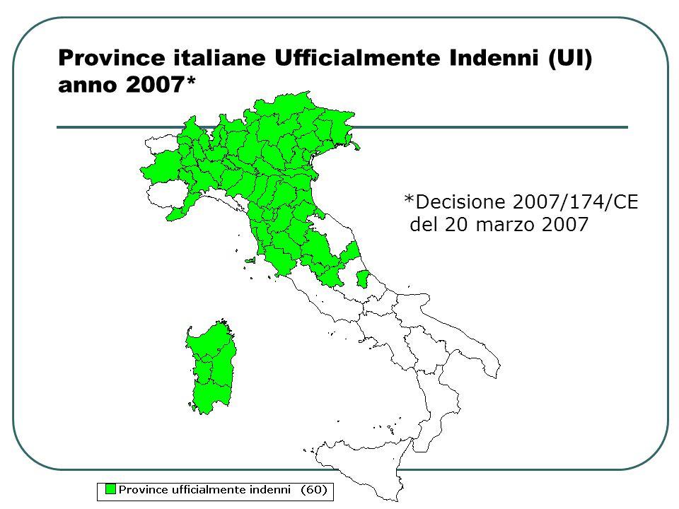 Province italiane Ufficialmente Indenni (UI) anno 2007*