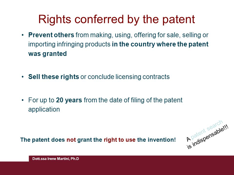 Rights conferred by the patent