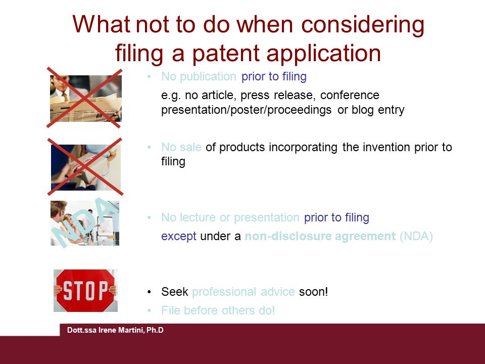 What not to do when considering filing a patent application