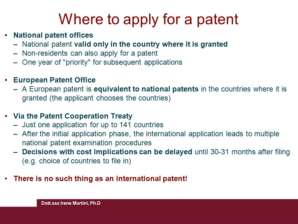 Where to apply for a patent