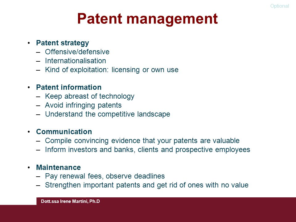 Patent management Patent strategy Offensive/defensive