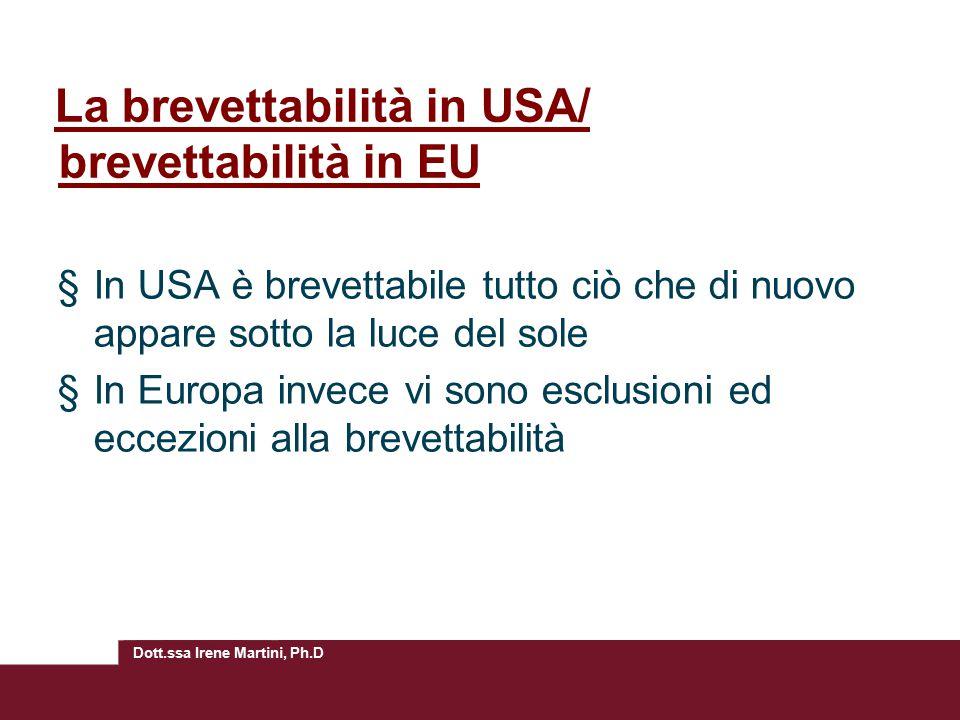 La brevettabilità in USA/ brevettabilità in EU