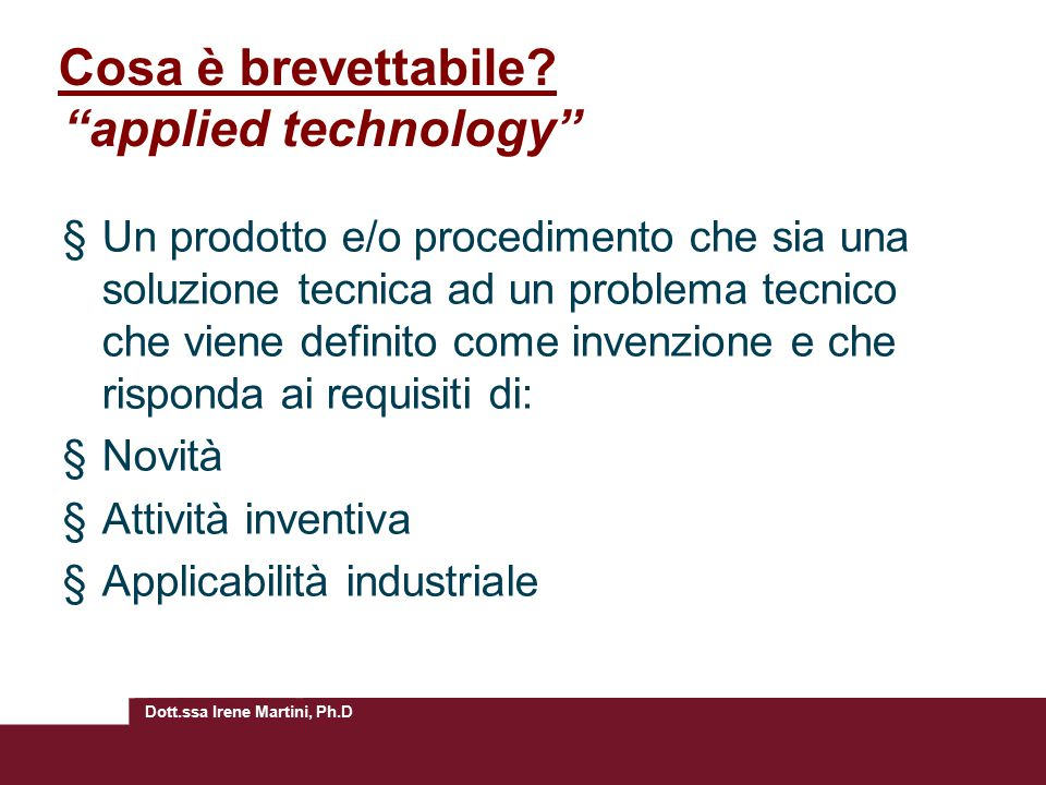 Cosa è brevettabile applied technology