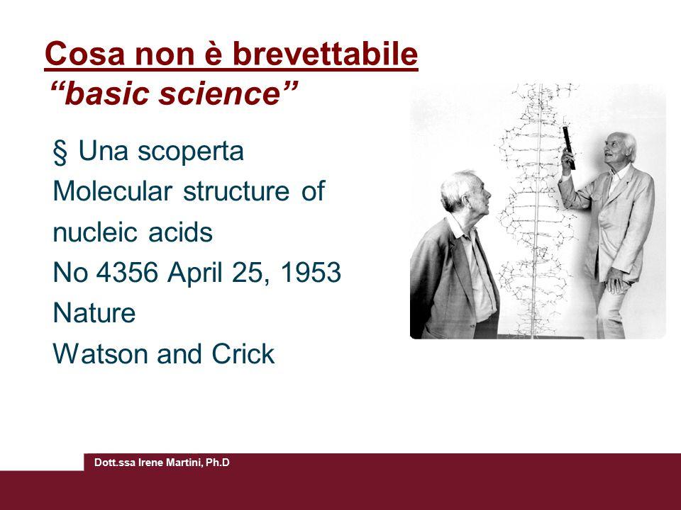 Cosa non è brevettabile basic science