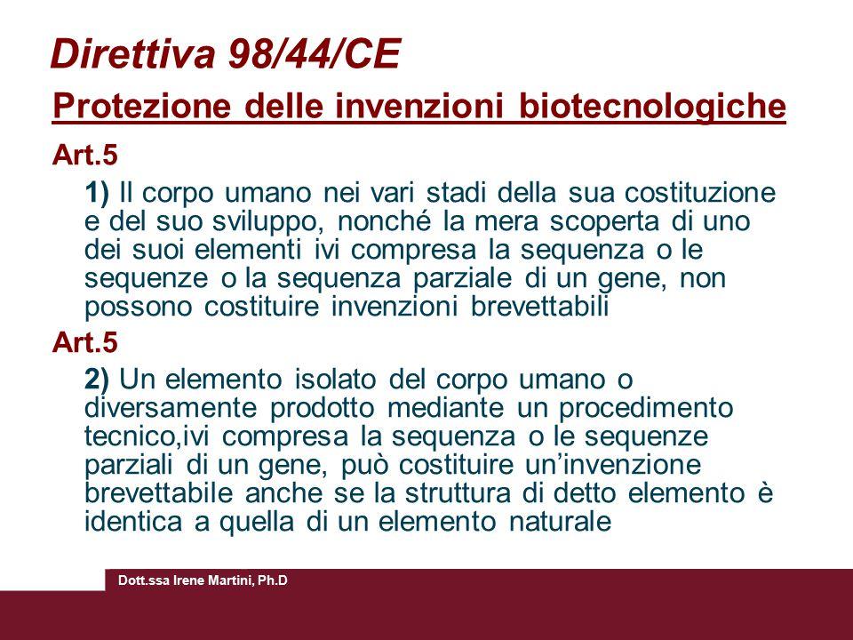 Direttiva 98/44/CE Protezione delle invenzioni biotecnologiche