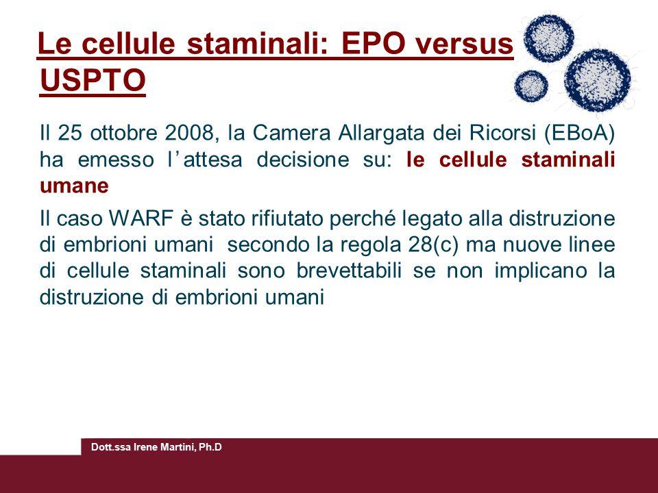 Le cellule staminali: EPO versus USPTO